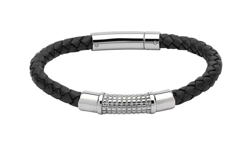 Unique & Co Navy Leather Bracelet B352NV - Hamilton & Lewis Jewellery