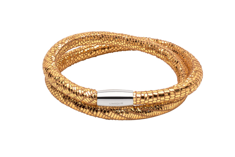 Unique & Co Ladies Gold Leather Bracelet B353GO - Hamilton & Lewis Jewellery