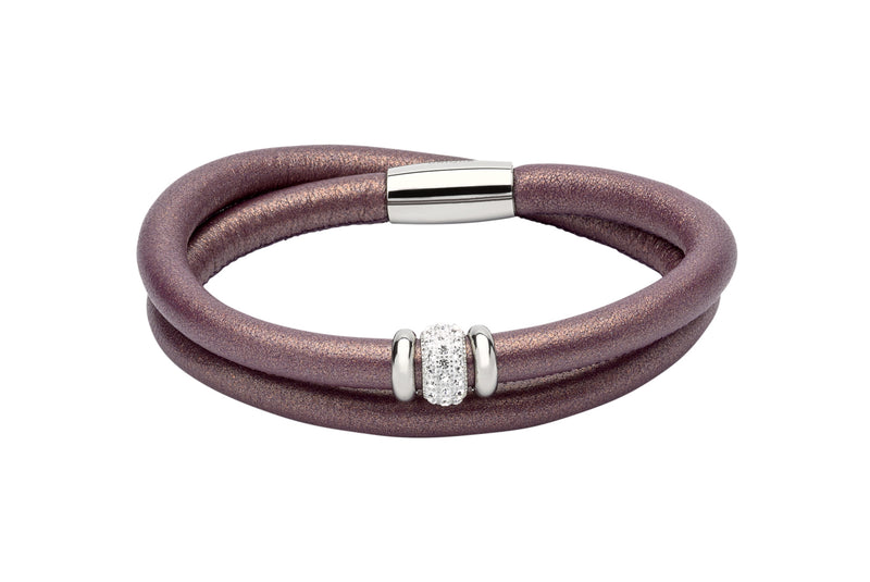 Unique & Co Ladies Berry Leather Bracelet B355BE - Hamilton & Lewis Jewellery