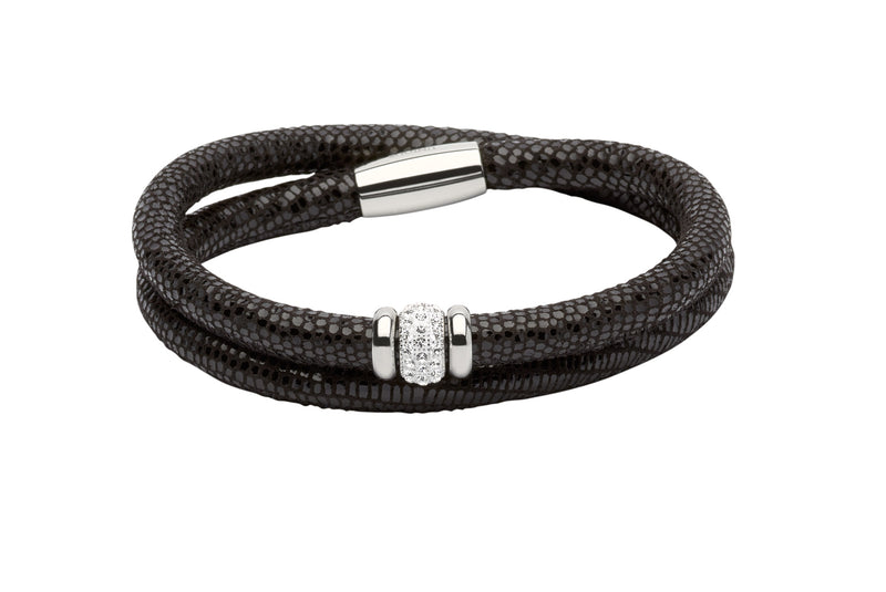 Unique & Co Ladies Black Leather Bracelet B355BL - Hamilton & Lewis Jewellery