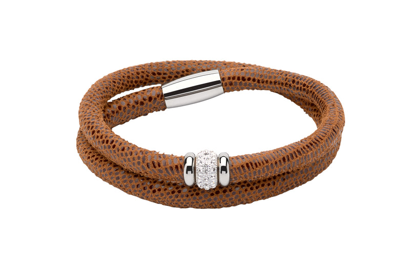 Unique & Co Ladies Light Brown Leather Bracelet B355LB - Hamilton & Lewis Jewellery