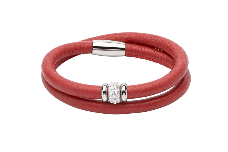 Unique & Co Ladies Red Leather Bracelet B355RE - Hamilton & Lewis Jewellery