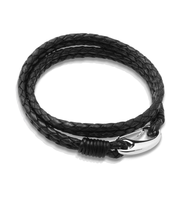 Unique & Co Antique Black Leather Bracelet B35 - Hamilton & Lewis Jewellery