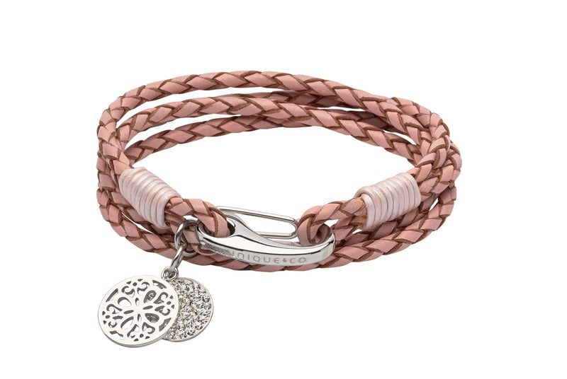 Unique & Co Ladies Pink Leather Bracelet B361PI - Hamilton & Lewis Jewellery