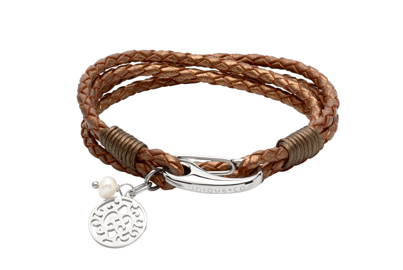 Unique & Co Ladies Bronze Leather Bracelet B362BR - Hamilton & Lewis Jewellery