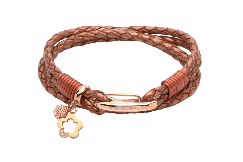 Unique & Co Ladies Copper Leather Bracelet B368CO - Hamilton & Lewis Jewellery