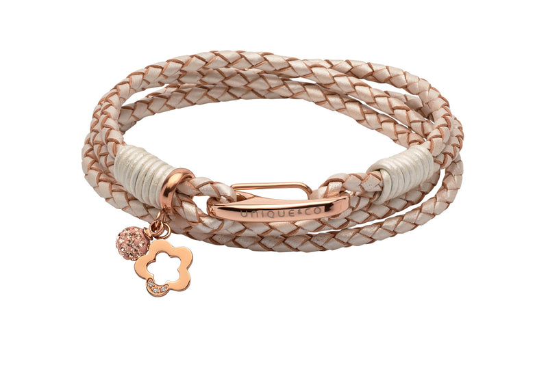 Unique & Co Ladies Pearl Leather Bracelet B368PE - Hamilton & Lewis Jewellery