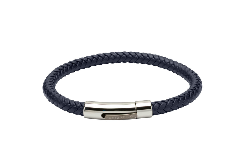 Unique & Co Blue Leather Bracelet B371BLUE - Hamilton & Lewis Jewellery
