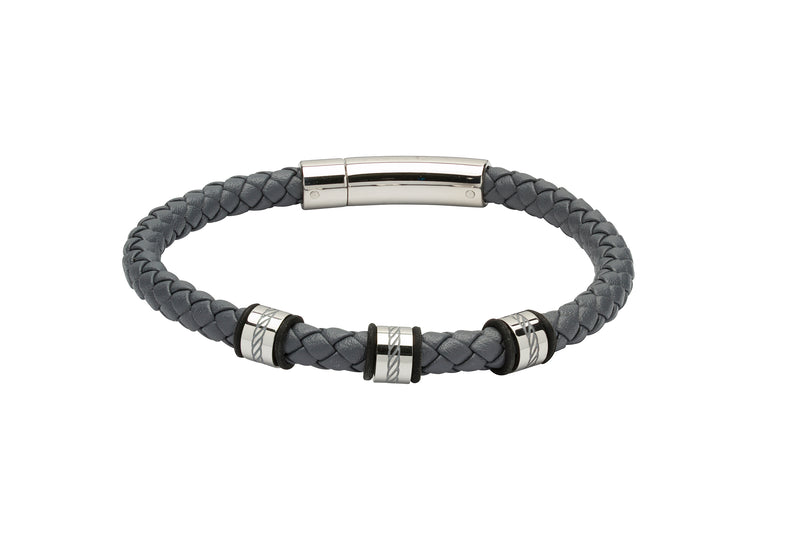 Unique & Co Grey Leather Bracelet B374GR - Hamilton & Lewis Jewellery