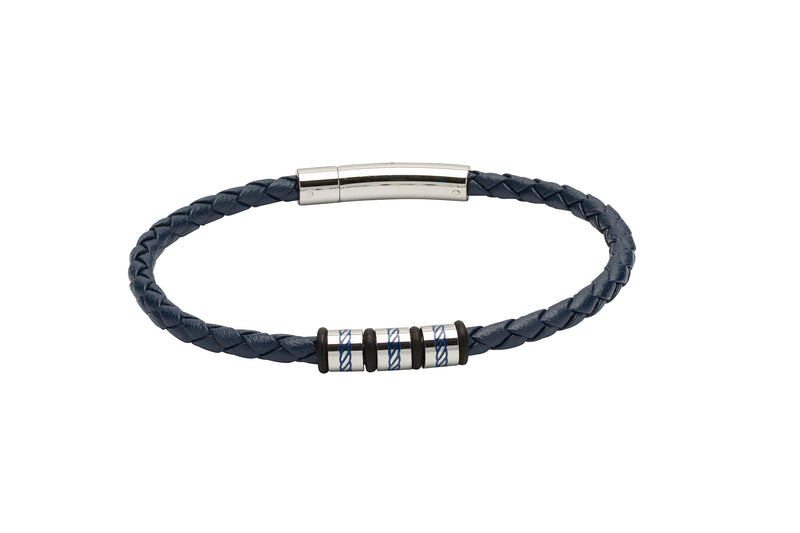 Unique & Co Blue Leather Bracelet B375BLUE - Hamilton & Lewis Jewellery