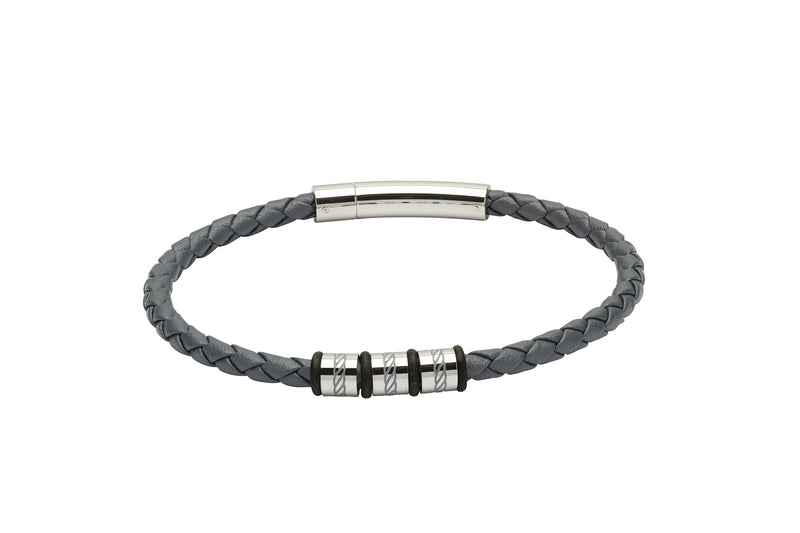 Unique & Co Grey Leather Bracelet B375GR - Hamilton & Lewis Jewellery