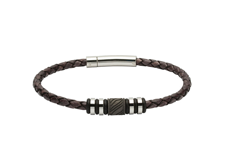 Unique & Co Antique Black Leather Bracelet B378ABL - Hamilton & Lewis Jewellery