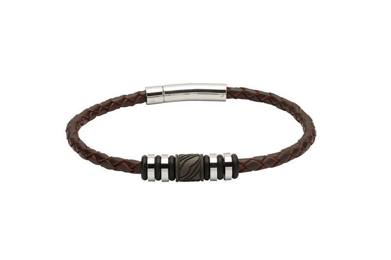 Unique & Co Dark Brown Leather Bracelet B378DB - Hamilton & Lewis Jewellery