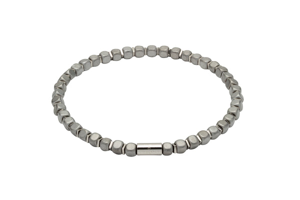 Unique & Co Matte Light Grey Hematite Bead Bracelet B386GR - Hamilton & Lewis Jewellery