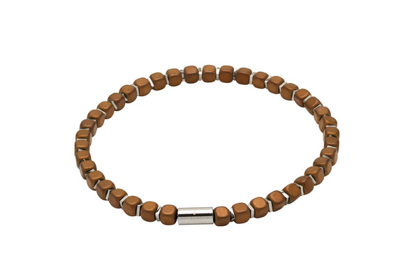 Unique & Co Matte Light Brown Hematite Bead Bracelet B386LB - Hamilton & Lewis Jewellery