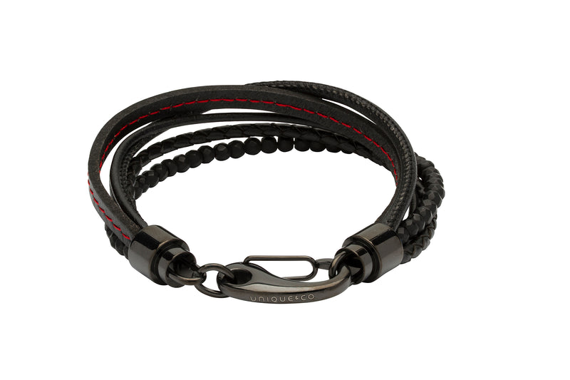 Unique & Co Black with Red Stitching Leather Bracelet B387RE - Hamilton & Lewis Jewellery