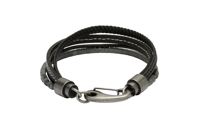 Unique & Co Black with White Stitching Leather Bracelet B387WH - Hamilton & Lewis Jewellery