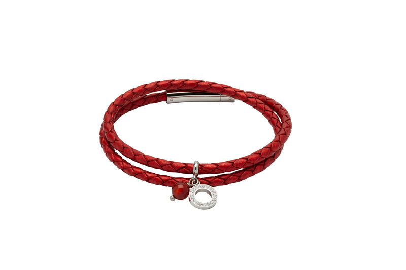 Unique & Co Ladies Moroccan Red Leather Bracelet B389MR - Hamilton & Lewis Jewellery