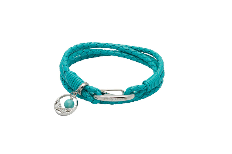 Unique & Co Ladies Turquoise Leather Bracelet B391TR - Hamilton & Lewis Jewellery