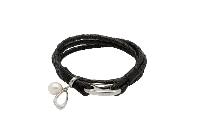 Unique & Co Ladies Black Leather Bracelet B393BL - Hamilton & Lewis Jewellery