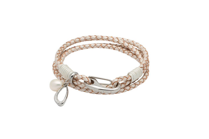 Unique & Co Ladies Pearl Leather Bracelet B393PE - Hamilton & Lewis Jewellery