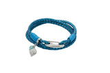 Unique & Co Ladies Metallic Blue Leather Bracelet B394BM - Hamilton & Lewis Jewellery