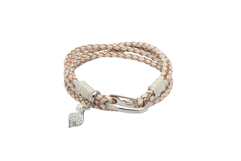 Unique & Co Ladies Pearl Leather Bracelet B394PE - Hamilton & Lewis Jewellery