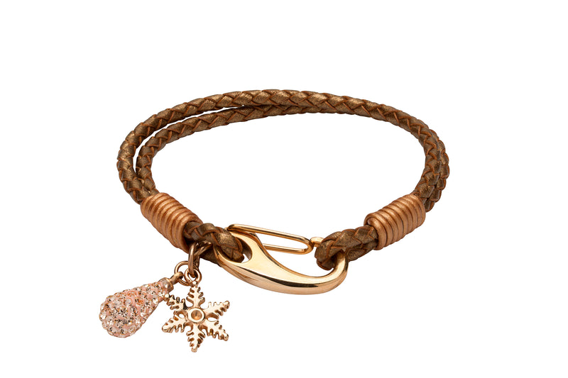 Unique & Co Ladies Bronze Leather Bracelet B396BR - Hamilton & Lewis Jewellery
