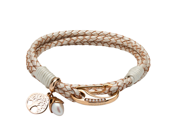 Unique & Co Ladies Pearl Leather Bracelet B398PE - Hamilton & Lewis Jewellery