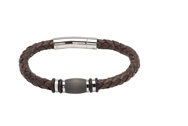 Unique & Co Dark Brown Leather Bracelet B401DB - Hamilton & Lewis Jewellery