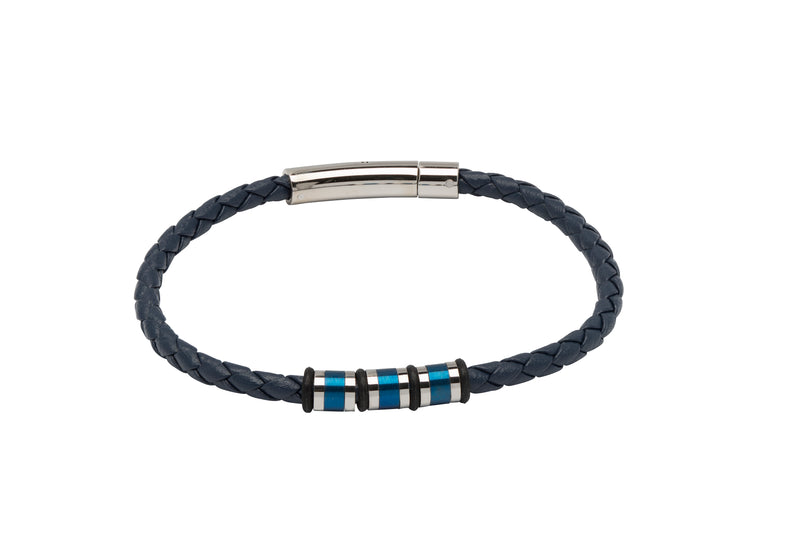 Unique & Co Blue Leather Bracelet B404BLUE - Hamilton & Lewis Jewellery