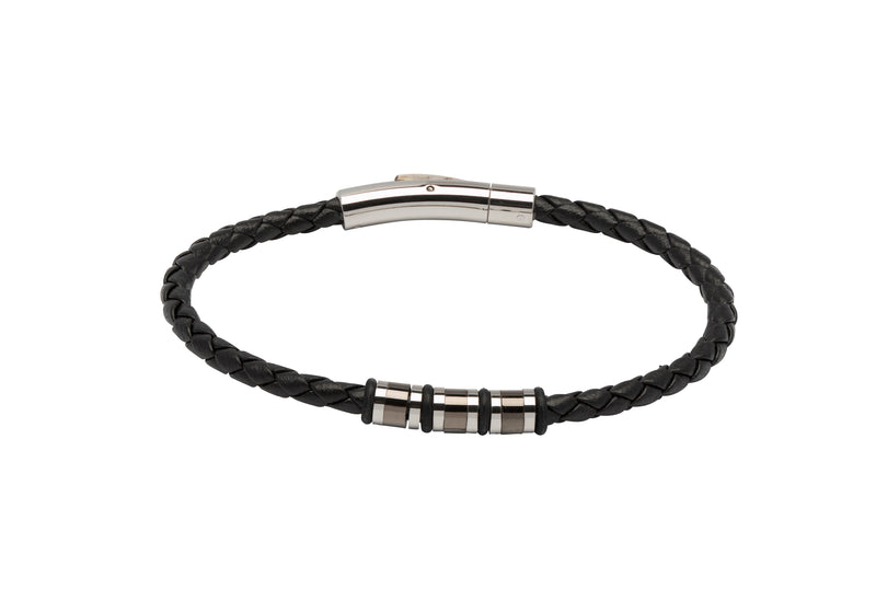 Unique & Co Black Leather Bracelet B404BL - Hamilton & Lewis Jewellery