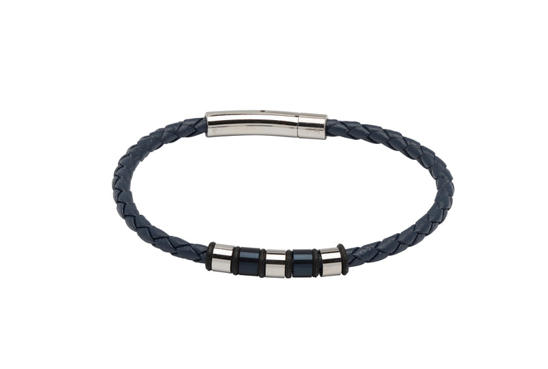 Unique & Co Blue Leather Bracelet B405BLUE - Hamilton & Lewis Jewellery