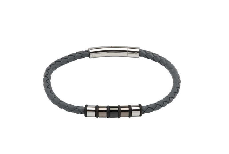 Unique & Co Grey Leather Bracelet B405GR - Hamilton & Lewis Jewellery