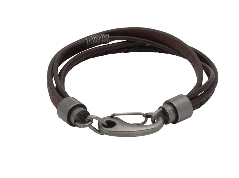 Unique & Co Antique Dark Brown Leather Bracelet B406ADB - Hamilton & Lewis Jewellery