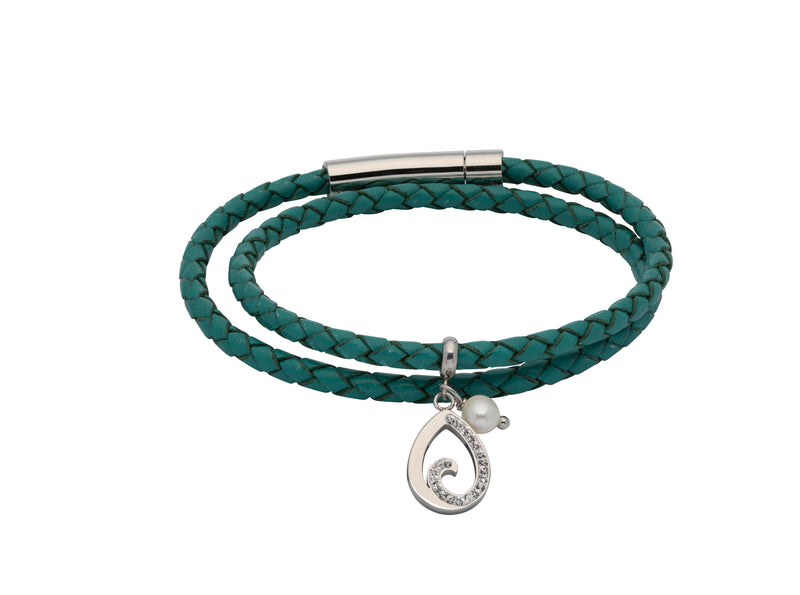 Unique & Co Ladies Turquoise Leather Bracelet B408TR - Hamilton & Lewis Jewellery