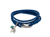 Unique & Co Ladies Blue Leather Bracelet B410BLUE - Hamilton & Lewis Jewellery