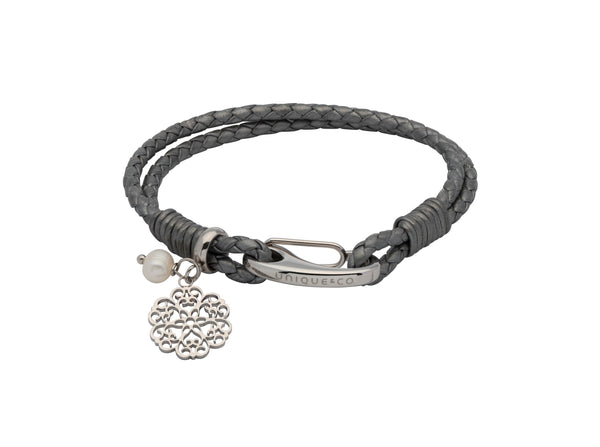 Unique & Co Ladies Silver Grey Leather Bracelet B412SG - Hamilton & Lewis Jewellery