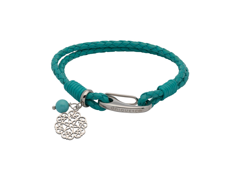 Unique & Co Ladies Turquoise Leather Bracelet B412TR - Hamilton & Lewis Jewellery