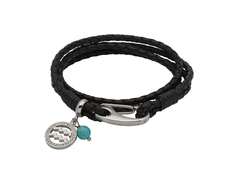 Unique & Co Ladies Black Leather Bracelet B414BL - Hamilton & Lewis Jewellery