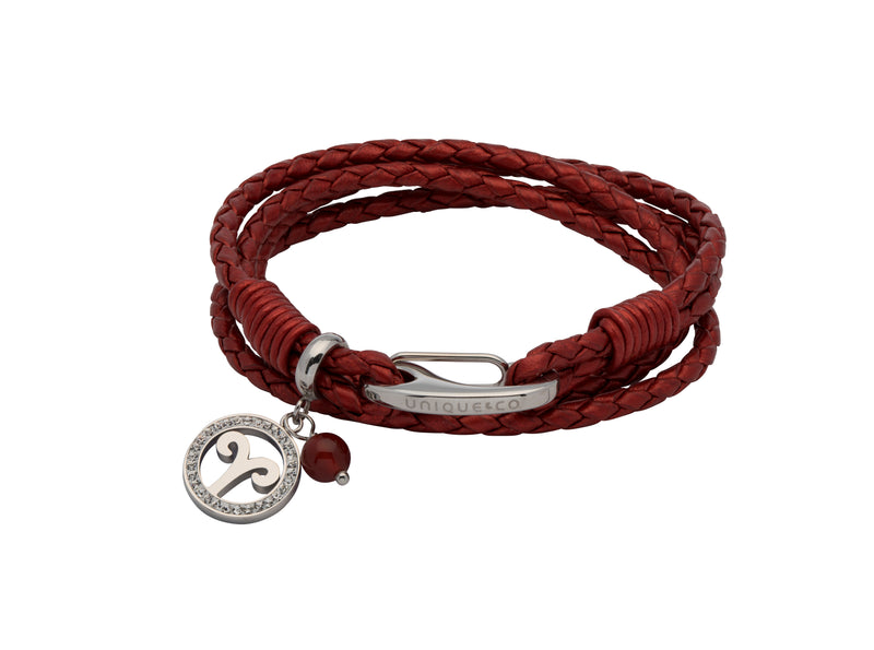Unique & Co Ladies Moroccan Red Leather Bracelet B416MR - Hamilton & Lewis Jewellery
