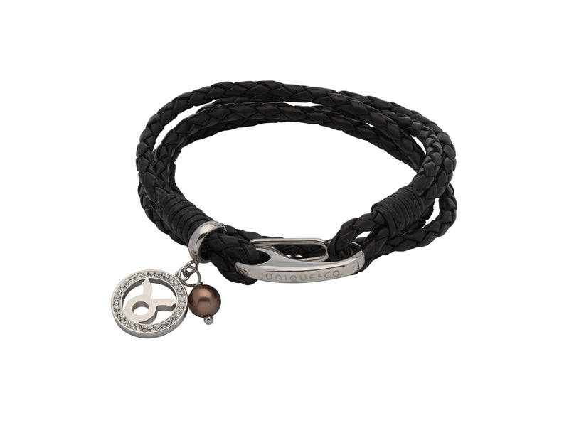 Unique & Co Ladies Black Leather Bracelet B417BL - Hamilton & Lewis Jewellery