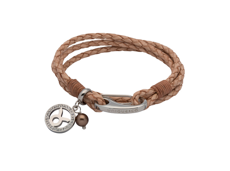 Unique & Co Ladies Natural Leather Bracelet B417NA - Hamilton & Lewis Jewellery