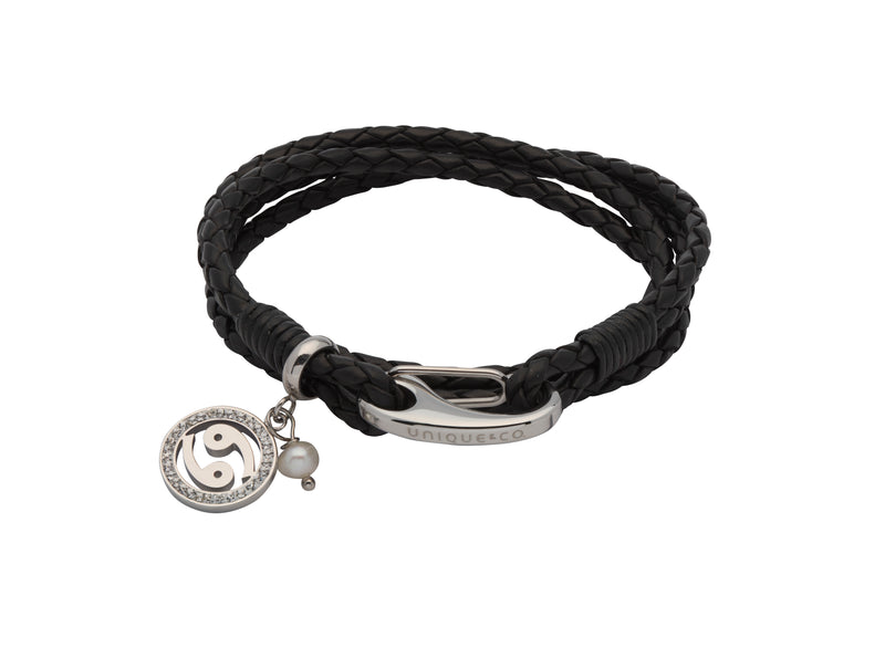 Unique & Co Ladies Black Leather Bracelet B419BL - Hamilton & Lewis Jewellery
