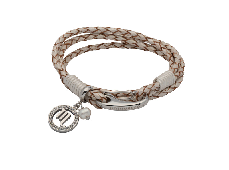 Unique & Co Ladies Pearl Leather Bracelet B423PE - Hamilton & Lewis Jewellery