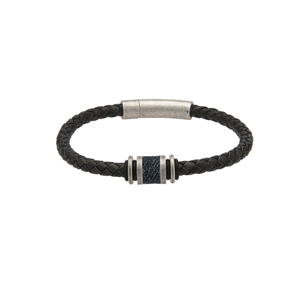 Unique & Co Antique Black Leather Bracelet B427ABL