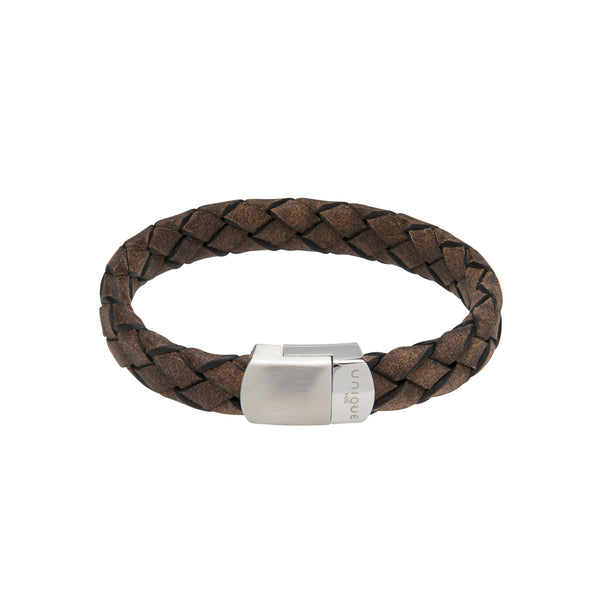 Unique & Co Smokey Brown Leather Bracelet B434SB