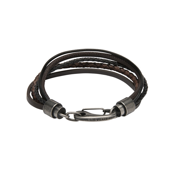 Unique & Co Black & Dark Brown Leather Bracelet B435BD