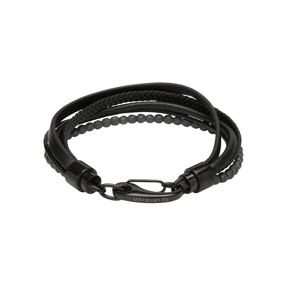 Unique & Co Black Leather Bracelet B435BL
