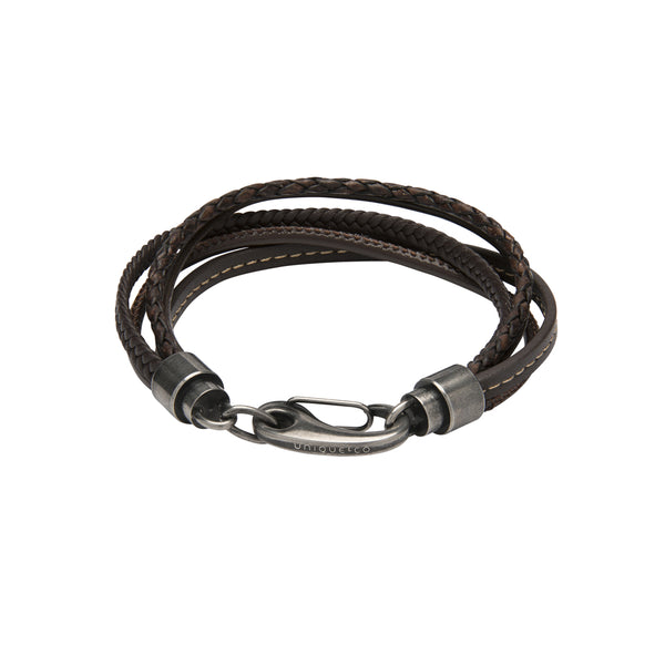Unique & Co Dark Brown Leather Bracelet B435DB